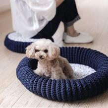 粗线编织钩针地板垫与狗窝 家有毛孩子的做起来