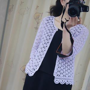紫陌 初夏女士棒针中袖小开衫