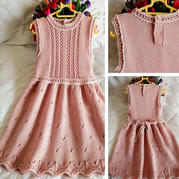 粉色公主裙  真丝羊毛儿童棒针无袖连衣裙