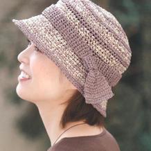 夏日结饰女士有檐钩针帽子编织图解