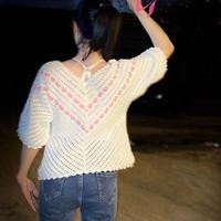 心墙 女士钩针心形花样V领中袖套衫(第十届编织大赛作品)