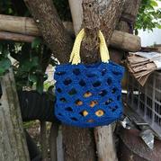 靓丽的提篮 钩针镂空花手提包编织图解