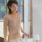 经典方格编彩色玫瑰图案女士钩针V领开衫