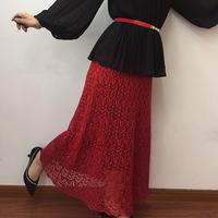 白玉兰 丝麻女士棒针蕾丝A版半身裙