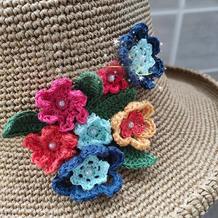 花房姑娘 女士钩针花边亚麻遮阳帽