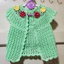 花朵小外搭 从上往下钩宝宝钩针外搭小开衫