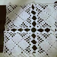 钩针方块拼花桌布一线连钩法视频讲解(2-2)