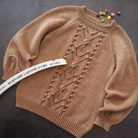 咖啡豆 云棉儿童棒针插肩毛衣