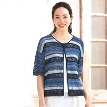 多色毛线混只女士钩织结合短袖圆领开衫