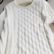 从上往下自带袖不对称结构女士棒针套头衫(第十届编织大赛作品)