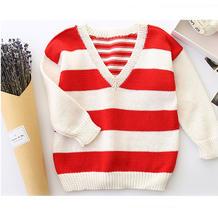 白兔糖(2-2)可前后两穿的儿童棒针条纹套头毛衣编织视频