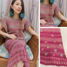 胭脂扣法式长裙 原创设计女士棒针连衣裙