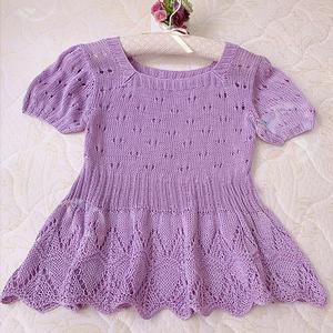 紫藤 原创方领短款女士棒针娃娃衫(第十届编织大赛作品)