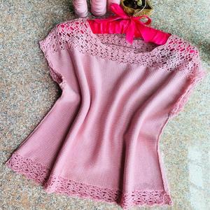 桃花朵朵 LK150钩织结合女士棒针夏日套衫
