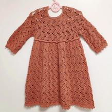 儿童棒针蕾丝镂空花长袖连衣裙