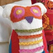棒针配色图案猫头鹰抱枕