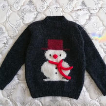 小雪人  男童棒针雪人图案套头毛衣