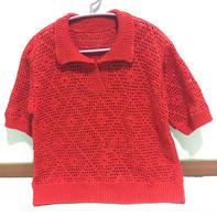 红菱 乐天款女款钩织结合翻领菱形套衫