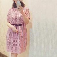 篱笆 女士棒针镂空花短袖连衣裙