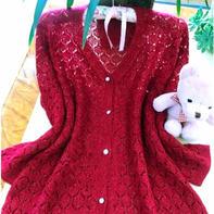 酒红色珍珠麻镂空花女士棒针长袖开衫