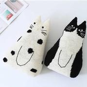 黑白猫抱枕 (白猫款)创意手工毛线玩偶抱枕编织视频
