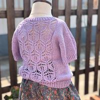 浪漫粉紫色儿童棒针后背镂空花短袖上衣