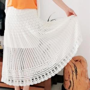 夏至飘逸半身裙 女士钩针蕾丝A型长裙