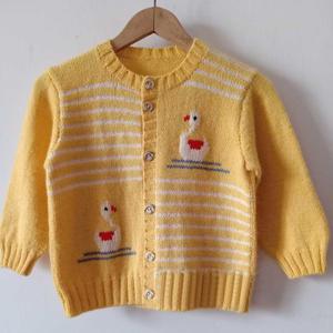 可爱不对衬绣图宝宝棒针开衫毛衣