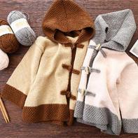 焦糖玛奇朵(2-1)中式风格儿童棒针连帽开衫外套毛衣编织视频