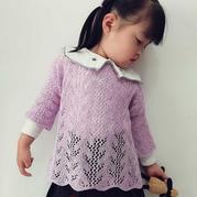 紫藤 女童棒针蕾丝七分袖镂空衫