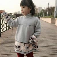 春之歌绣花裙衫(4-1)绣花翻领女童棒针裙式毛衣编织视频