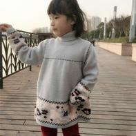 春之歌绣花裙衫(4-3)绣花翻领女童棒针裙式毛衣编织视频