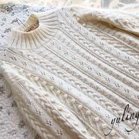冬絮  女士棒针羊毛马海白色套头毛衣