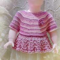 新荷微雨 从领口往下织儿童棒针圆肩裙衣(附海量花样图解)