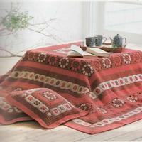 很喜庆的钩针祖母方格拼花毯及方形抱枕