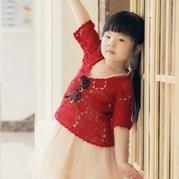 玫瑰 云素麻棉女童钩针拼花罩衫(在阳光下开花儿童版)