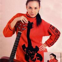 用针线表达情感 音乐主题女士棒针套头毛衣