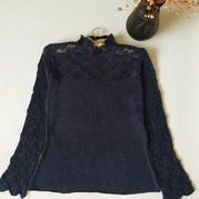 柳韵 云丝女士蕾丝领袖棒针长袖毛衣(第十届编织大赛作品)