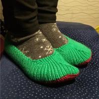 浅口毛线地板袜(2-2)毛线袜棒针鞋子编织视频教程