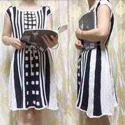 墨白 女士钩针马赛克祖母方格连衣裙(第十届编织大赛作品)