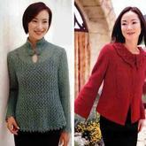 手工兴旺xw115中式风格女士棒针开衫毛衣2款(各有3个尺码数据)