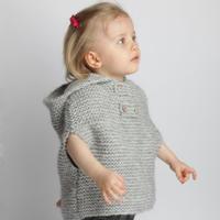 精灵斗蓬衫(3-2)粗针织宝宝棒针连帽斗篷编织视频教程