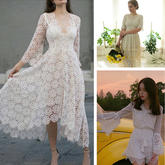 清爽又小仙气白色钩针蕾丝衫或小白裙