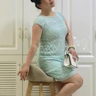 薄蓝 红妆改版从上往下织育克插肩短袖连衣裙