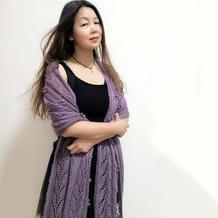 叶趣围巾 女士棒针叶子镂空花羊毛马海围巾