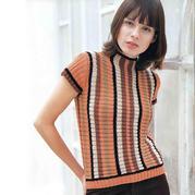 横织双罗纹女士棒针竖条纹短袖衫