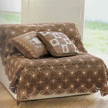 田园风刺绣钩针拼花抱枕与毯子