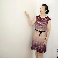 紫云 渐变蛋糕线女士钩针显瘦圆肩连衣裙