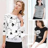 经典黑与白 手工兴旺xw115女士黑白花样图案春夏衫3款
