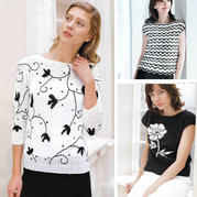 经典黑与白 手工编织女士黑白花样图案春夏衫3款